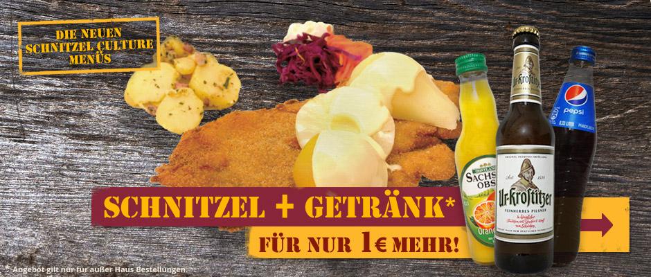 Für nur 1 Euro mehr bekommt Ihr unsere Bestseller Schnitzel mit Getränk.